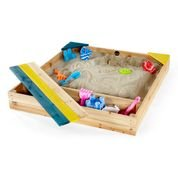 wooden sandpit with cover